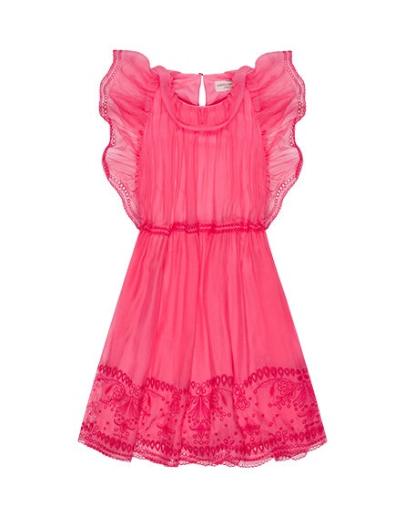 Junior chiffon dress with embroidery