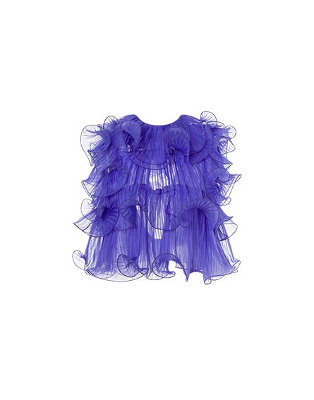 Chiffon crop top with ruffles