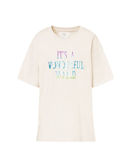Beige 'It's A Wonderful World' t-shirt