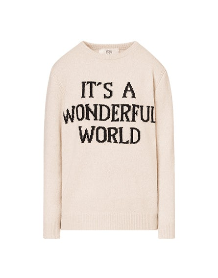Beige 'It's a Wonderful World' pullover
