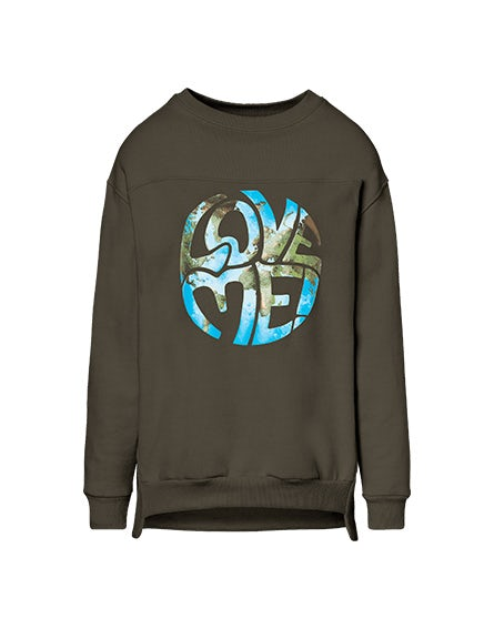 Green 'Love Me' sweatshirt