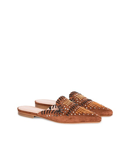 Split-leather mules with intarsia and studs
