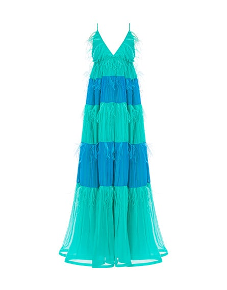 Two-tone chiffon dress with feathers